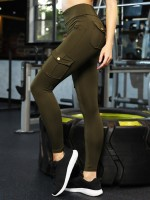 Creative Green Ankle Length Yoga Pants With Pockets For Women