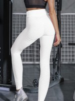 Delightful White Wide Waistband Yoga Pants Jacquard Motion Control