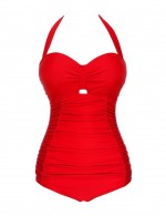 Honeymoon Red Queen Size Ruched One Piece Swimsuit Halter Female