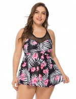 Enthusiastic Floral Pattern Mesh Swimming Suits Queen Size Womenswear