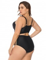 Enthralling Black Queen Size Two Pieces Stripes Swimwear Keyhole Women
