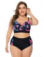 Captivating Hollow Mesh Plus Size Bikini High Waist Vacation Time