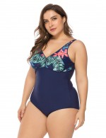 Fantastic Printed Backless One Piece Swimsuit Back Plus Size Cheap Online