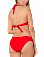 Adorable Red Halter Neck Backless Bikinis With Underwire Form Fit