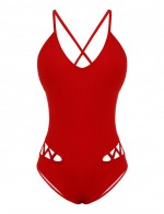 Desirable Designed Red Hollow Out Knotted Bikini Criss Cross Fashion
