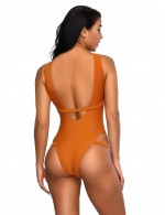 Colorful Cut Out Orange One Piece Bathing Suit Back Belt New Fashion