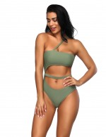 Well-Suited Blackish Green Adjustable Straps Cut Out Swimsuit