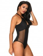 Classic Black Stitching Mesh One Piece Swimsuit Front Keyhole Outdoor