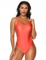 Vintage Orange One Piece Swimwear Plain High Cut Leg Treading Water