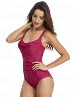 Online Rose Red Pure Color One Piece Ruched Bathing Suit Female