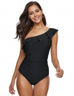 Gorgeous Black Padded Ruffle 1 Piece Swimsuit Big Size Women Outfits