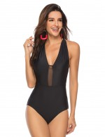 Breathable Black Stitching Mesh One Piece Swimsuit Pure Color Comfort