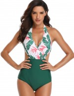 Adult Green Bathing Suit Removable Pads Ruched Leaf Pattern Visual Effect
