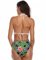 Astonishing Green Printed Wireless One Piece Beachwear Halter Neck Feminine Fashion Style