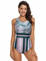 Swimming Padding Printed One Piece Swimsuit Stripes Fashion Style