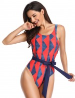 Endearing Printed One Piece Swimsuit O-Neckline Good Elasticity