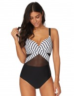 Passionate Striped Mesh One Piece Swimsuit Splice Tailored Quality