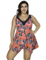 Desirable Designed Orange Print Set Adjustable Straps Tankini