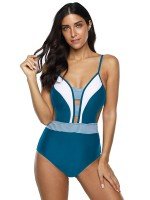 Conservative Blue Push-Up Chest High Cut Swimsuit
