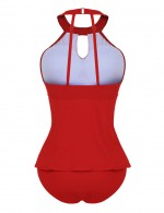 Colorful Keyhole Plus Front Rivet Tankini High Neck New Fashion