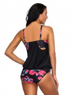 Colorful Ruched Black V Neck Tankini Padding Cup Flower Print New Fashion