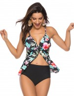 Beach Fashion Floral Print Criss Cross Tankini Large Size Women Fashion Style