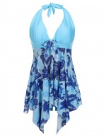 Exotic Blue Printed Swimming Dress Irregular Hemline Plus Size Chic Trend