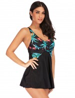 Modern Ladies Criss Cross Printed 2 Pieces Swimsuit Big Size Fashion Sale
