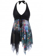 Modern Black Queen Size Printed Swimming Dress 2 Pieces For Ladies