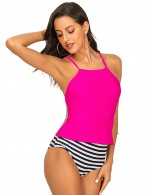 Ocean Strips Cross Knot Strips Tankini Open Back Summer Essentials