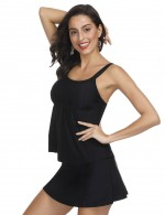 Plus Black Tank Top Skirted Bikini Swimwear 2 Pieces Poolside Party