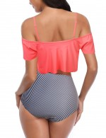 Abstract Orange Ruffle Backless Slender Strap Swimsuit 2 Pcs Latest Trends