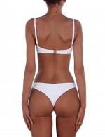 Sassy Adjustable Thin Straps White Swimwear High Cut Panty Beach Playing Time