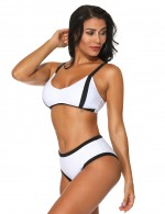 Lovable White Knot Midi Waist Two Pieces Bathing Suit Womens Latest Swimwear