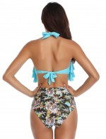 Beautiful Blue Padded Flounce Printed Bikini With Bowknot Gentle Fabric