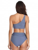 Eye Catching Grey Wireless Ruched Bikini High Waist Knot Elastic Material