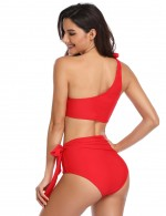 Energetic Red Wireless Two Pieces Beachwear High Waist For Romance