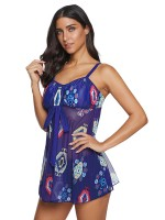 Big Bust Navy Swimsuit Dress Back Lacing-Up