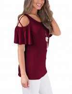 Purplish Red Cross Straps Cold Shoulder T-Shirts Flounce Trim Sleeve