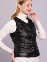 Black Female Electric Heated Vest Side Pockets Comfort Fabric