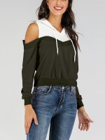 Dynamic Army Green Fake Two Pieces Hooded Collar Rib Sensual Curves