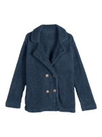 Enthusiastic Dark Blue Large Size Coat Double Breasted Fashion Sale