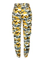 Brightly Jogger Pants Camo Printed With Pockets For Girls