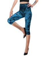 Faddish Light Blue Big Size Three Quarter Length Leggings Classic