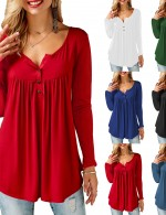 Breathable Red Long Sleeves Shirt V-Neckline Cheap Fashion Style