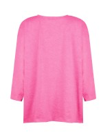 Elegant Pink Long-Sleeved Cactus Pattern Blouse Home Clothes