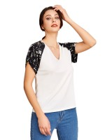 Energetic Patchwork V Collar Shirt Short Sleeves For Sexy Women