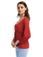 Cozy Red Elastic Cuff Shirt V Collar Ruffle Charming Fashion
