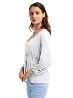 Shop White Lantern Sleeve Blouse V Neck Ruffle Stretch