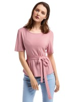 Dynamic Pink Round Neck Belt Shirt Short Sleeve For Women